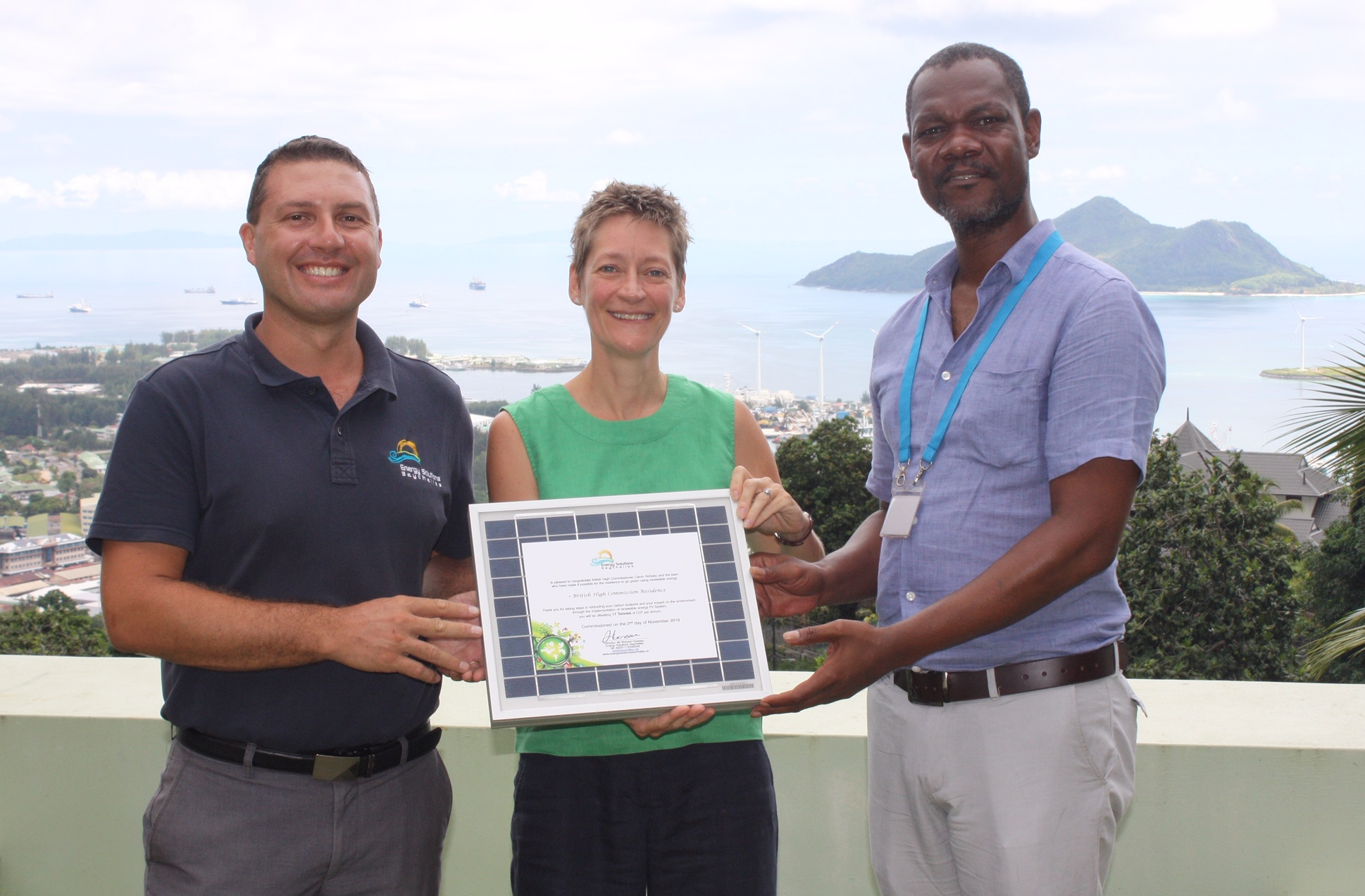 ESS PV system handover with the British High Commission of Seychelles